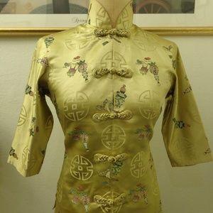 Vintage Asian Style Button Down Blouse Top